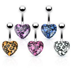 Piercing do pupíku fialové srdce