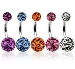 Piercing do pupíku leopard fialový