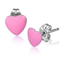 Náušnice z chirurgické oceli srdce
