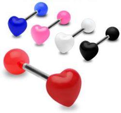 Piercing do jazyku srdce červené