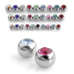 Piercing-náhradní kulička s tmavě růžovým zirkonem 3mm, závit 1,2mm