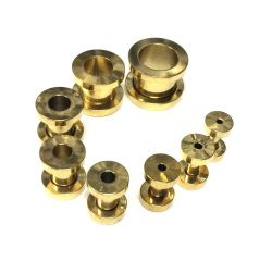 Tunel ocelový zlatý 2mm