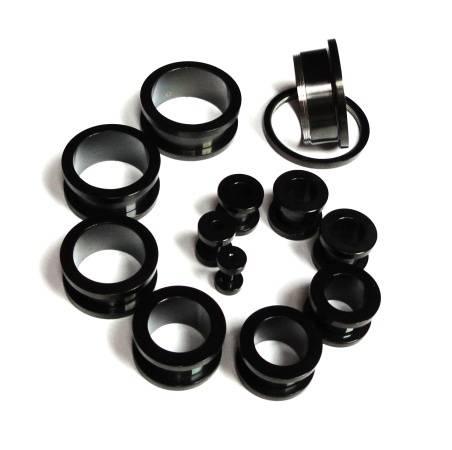 Piercing do ucha tunel černý 20mm Starsteel.cz - šperky z oceli
