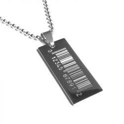 Přívěsek z chirurgické oceli Čarový kód + řetízek zdarma