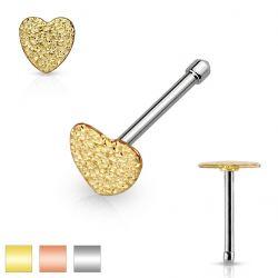 Piercing do nosu srdce zlaté