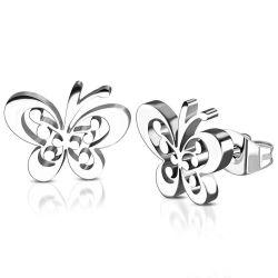 Náušnice z chirurgické oceli motýli