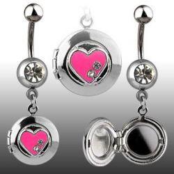 Piercing do pupíku srdce otevírací