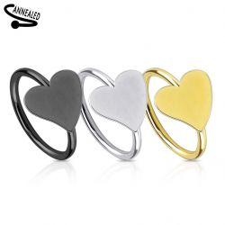 Piercing kroužek srdce stříbrné