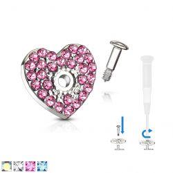 Microdermal srdce s bílými zirkony