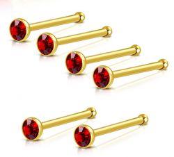 Nosovka z chirurgické oceli zlatá s červeným zirkonem