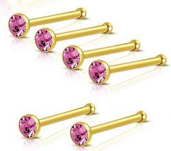 Nosovka z chirurgické oceli zlatá s růžovým zirkonem