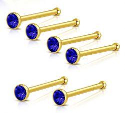 Nosovka z chirurgické oceli zlatá s tmavě modrým zirkonem
