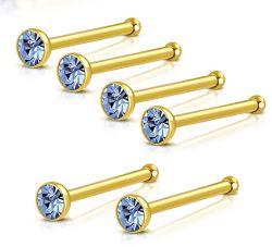 Nosovka z chirurgické oceli zlatá se světle modrým zirkonem
