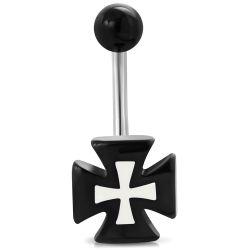 Piercing do pupíku kříž