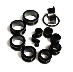 Piercing do ucha tunel černý 2mm Starsteel.cz - šperky z oceli